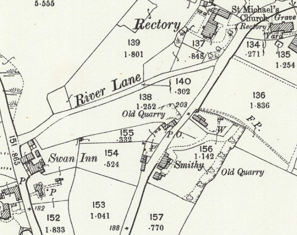 Map - Waters Upton, Church, Smithy and Swan Inn