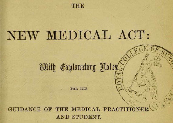Book - The New Medical Act (1858)