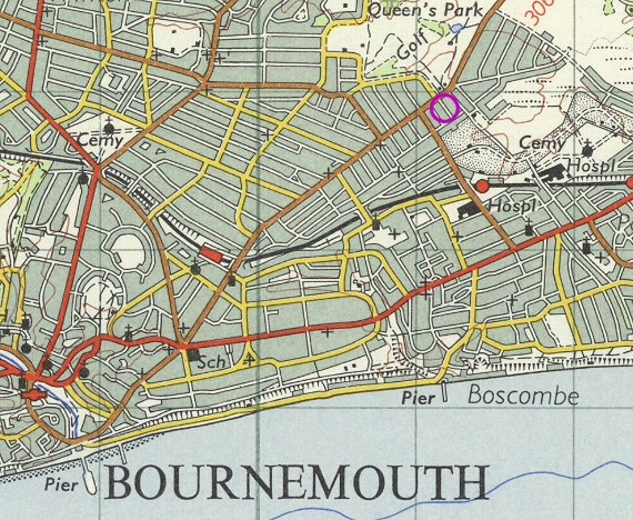 Map - Bournemouth, Hayes Avenue highlighted