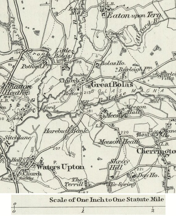 Map - Waters Upton and Eaton upon Tern