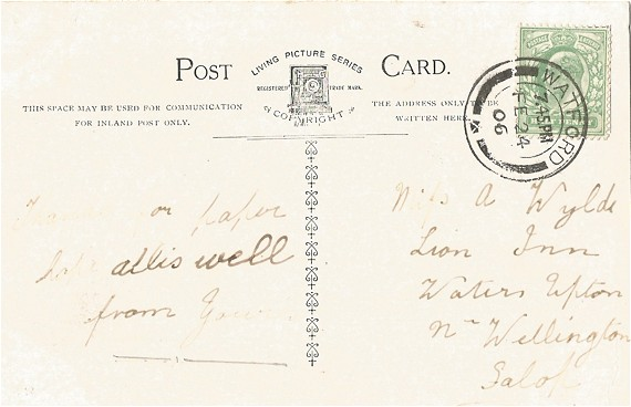 Postcard to A Wylde, back
